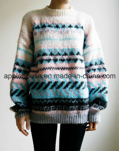 Lady′s Fashion Long Sleeve Jacquard Knit Pullover Sweater