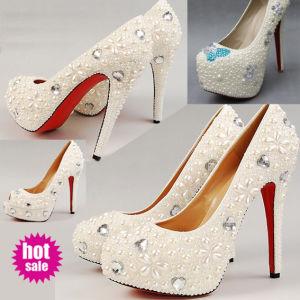 2015 Women High Heels Pearls and Rhinestone Bridal Shoes (w-104)
