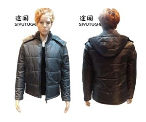 Men Fashion PVC Padding Hoody Long Sleeve Jacket (SY-1531) pictures & photos