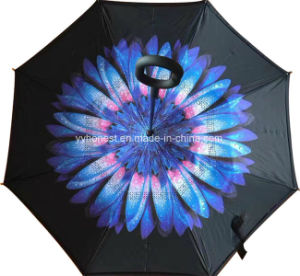 Custom New Design Folded Car C Handle Inverted Umbrella pictures & photos