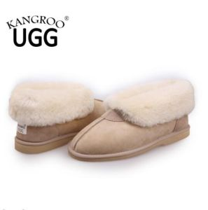 Australian Twin Face Sheepskin Indoor Shoes Slipper Sand Color pictures & photos