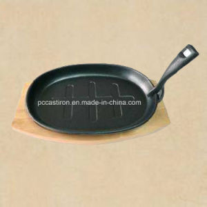Preseasoned Cast Iron Fajita Sizzler Pan with LFGB Certificate pictures & photos