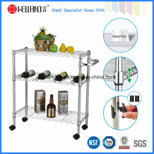 3 Tiers DIY Steel Wire Kitchen Utility Cart with Nylon Wheels pictures & photos