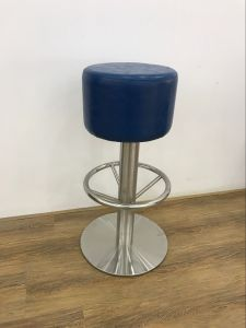 Blue PU Leather Stainless Steel Base High Bar Stool pictures & photos