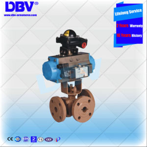 Industrial Stainless Steel Pneumatic Operated 3 Ways Flange Floating Ball Valve
