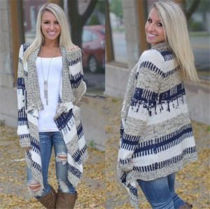 Fashion Mixed Color Irregular Sweater Knitted Cardigan (80018) pictures & photos