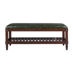 Wooden Frame End of Bed Chaise Storage Bench with Shelf pictures & photos