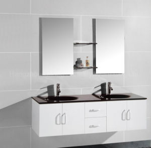 Double Basin MDF Cabinet in Bathroom with Mirror pictures & photos