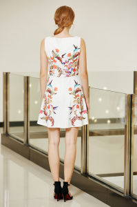 Latest Fashionable Symmetrical Floral Placement Print Swing Skater Ponte Dress pictures & photos