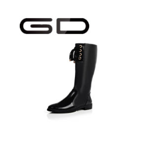 Gd Lady Comfortable Knee Boots Wood Heel Low Heel pictures & photos