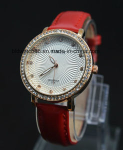 Ladies Dress Watch Fashion Leather Crystal Wrist Watches Japan Movement pictures & photos