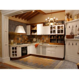 L Type Traditional White Solid Wood Kitchen Cabinet with Island pictures & photos