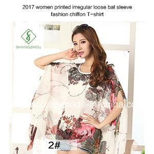 2017 Women Printed Irregular Loose Bat Sleeve Fashion Chiffon T-Shirt pictures & photos
