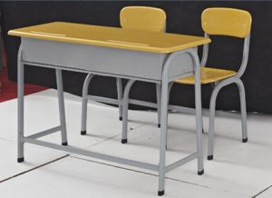 Strong School Desk and Chair for Double Seats pictures & photos