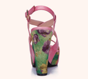 Lady Leather Floral Weave Platform High Heels Women Sandals Shoes pictures & photos