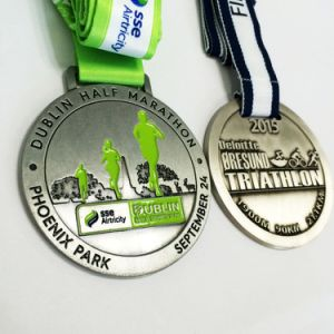 Manufacturer Enamel Cut out Logo Running Medal with Transfer Printed Lanyard pictures & photos