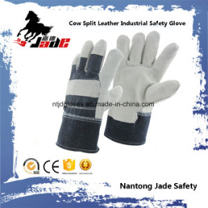 Grey Full Palm Cowhide Split Leather Industrial Safety Work Glove pictures & photos