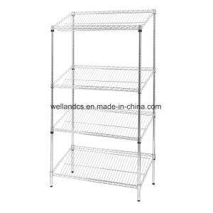 4 Tiers Inclined Chrome Display Wire Shelving Rack at Canton Fair Exhibition pictures & photos