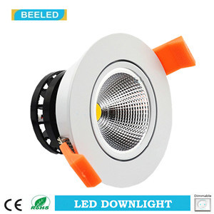 7W COB White Aluminum Dimmable Warm White LED Downlight