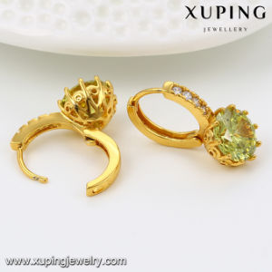 23118 Hot Sales Jewelry Diamond 24k Gold Earring Huggie for Valentine′s Day pictures & photos