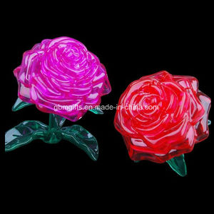 2 Color Beautiful Rose Crystal Puzzle 3D Puzzle Game pictures & photos