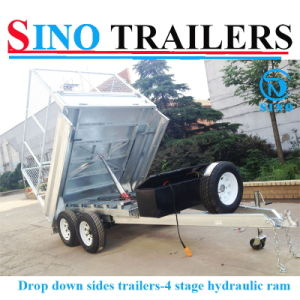 Factory Direct Hydraulic Tipping Trailers with Drop Down Sides pictures & photos