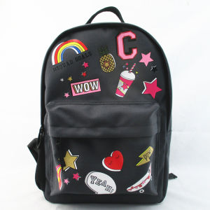 Girls Back to School Badge Print Backpack pictures & photos