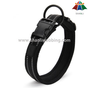Hot-Sale High-Quality Solid Color Sport Style 20mm Adjustable Polyester Dog Collar with Reflective Strip pictures & photos