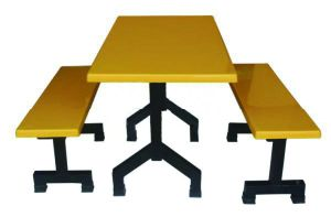 4 Seats Steel Frame Fiberglass Table and Chair for Canteen pictures & photos