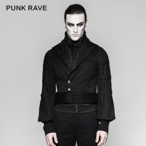 Latest Festival Gothic Velvet Black Mens Stripe Waistcoats (Y-743) pictures & photos