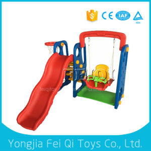 Indoor Kid Toy Slide and Swing with Plastic Basketball Stand pictures & photos