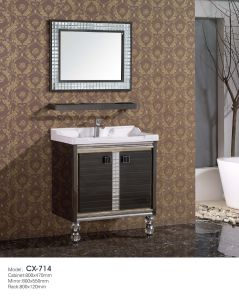 Black Stainless Steel Bathroom Cabinet with Rack/Shelf pictures & photos
