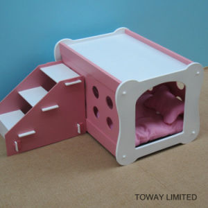Double Layer Stairs Wood Dog House Bones Shape Pet Beds pictures & photos