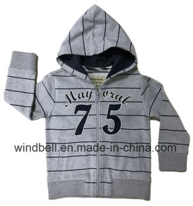 Yarn-Dye Striped Fleece Sweat Zipper Hoody for Boy with Flock Print pictures & photos
