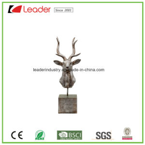 Polyresin Silver Deer Head Figurine with a Base for Home Decoration pictures & photos
