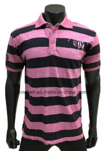 Yarn Dye Striped Polo T-Shirt for Men with Dirty Wash pictures & photos