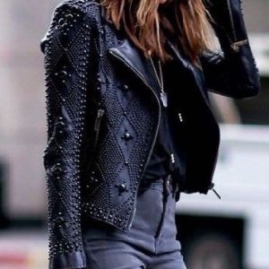 a Forever Fairness Fashion Lapel Black Motorcycle Woman Leather Jacket pictures & photos