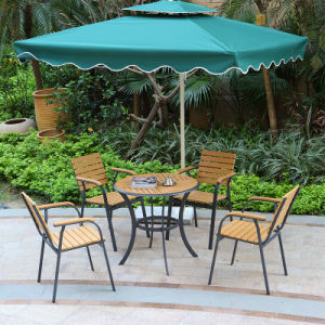 Patio Gaden Home Hotel Office Aluminum Polywood Table and Arm Chair (J805) pictures & photos