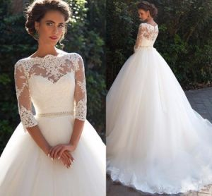 3/4 Lace Sleeves Wedding Dress Puffy Tulle Bridal Ball Gown G1726 pictures & photos