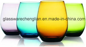 Attractive Set of Four Unique Colored Stemless Wine Glasses Set (B-GS015) pictures & photos