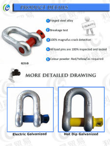 U. S. G210 Alloy Steel Screw Pin Chain Shackles pictures & photos