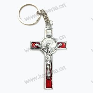 Newest Design Red Religious Zinc Alloy Cross Keychain