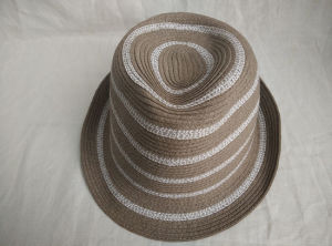 Mixed Color Stripe Sewn Braid Fedora Straw Hat