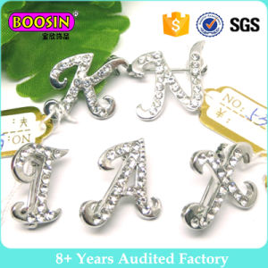 Wholesale 26 Letters Brooch, Rhinestone Letter Brooch with Butterfly Clutch pictures & photos