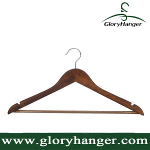 Solid Wooden Suit Hangers Retro Finish with Anti-Rust Hooks and Non-Slip Bar pictures & photos