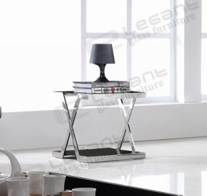 French Style Black Glass Table with Cross Legs pictures & photos