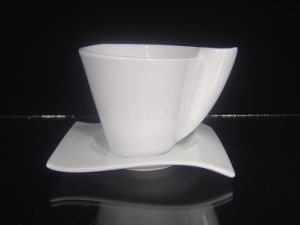 Porcelain Coffee Cup with Square Saucer