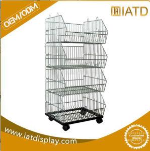 4 Tier Floor Steel Wire Basket Shelf pictures & photos