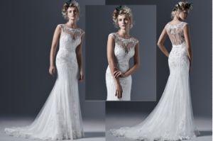 Mermaid O-Neck Sleeveless Applique Wedding Dress, Customized
