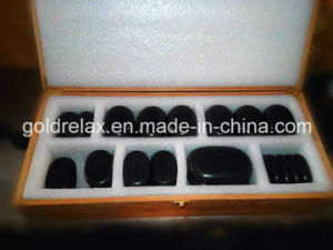 SPA Hot Stone for Lady Massage (40PCS set in wooden box)